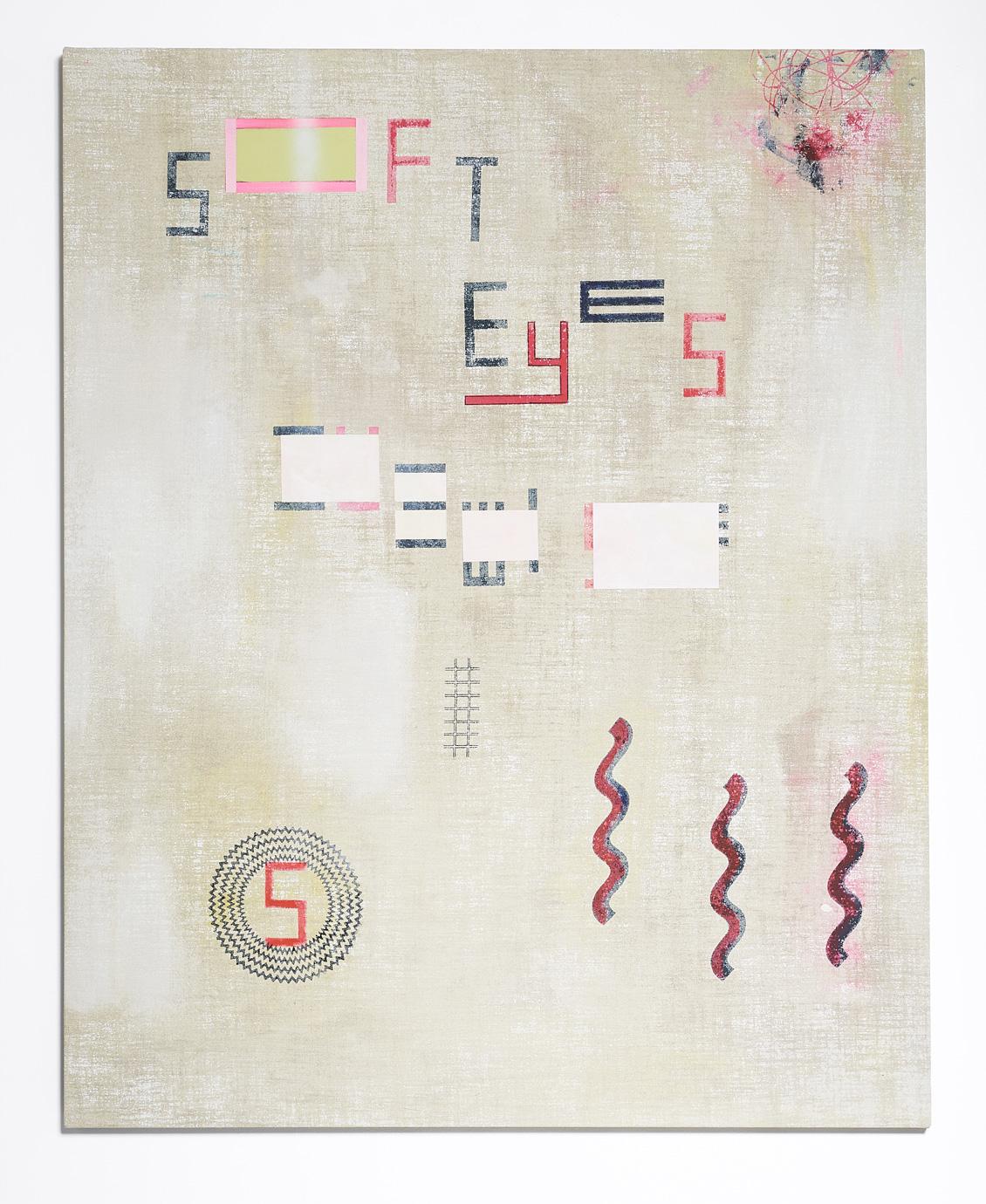 SARAH crowEST  SOFT EYES  2018 (#5 cream) acrylic on linen 127 × 102 cm