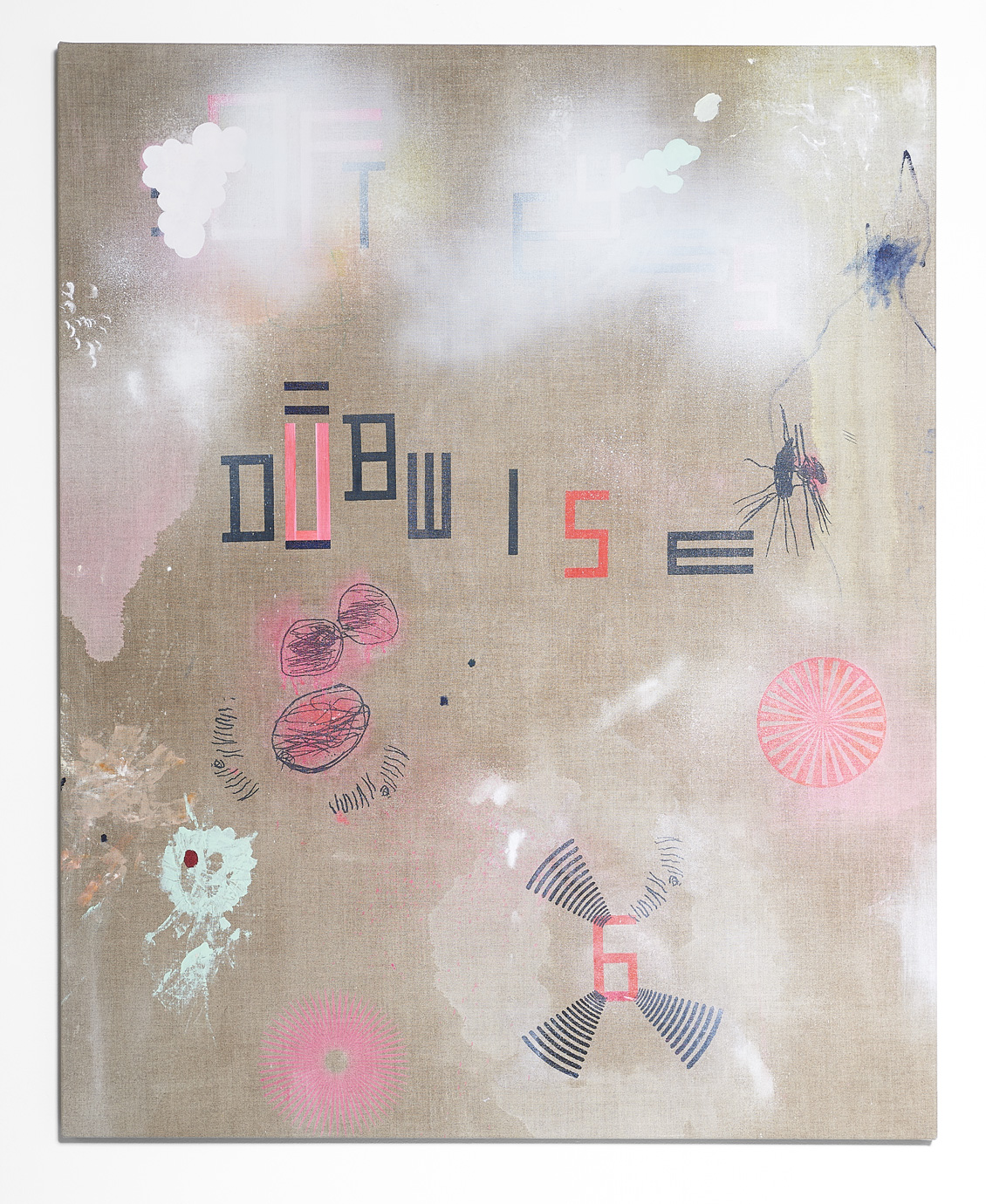 SARAH crowEST  DUB WISE  2018 (#6 loomstate) acrylic on linen 127 × 102 cm