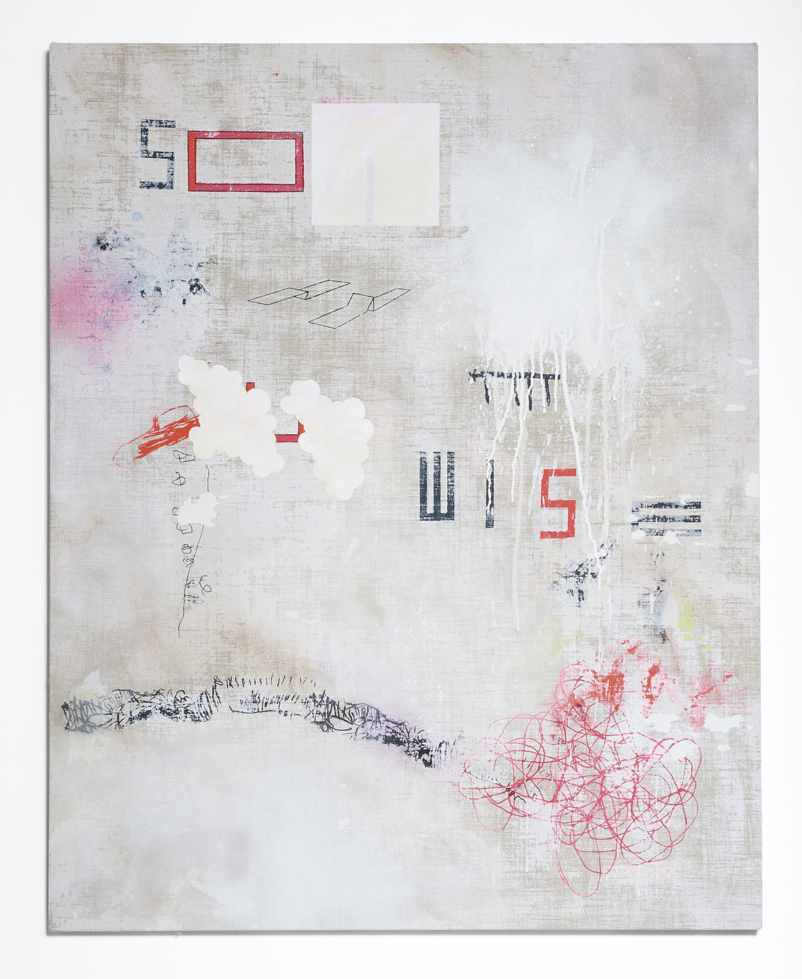 SARAH crowEST  SO WISE  2018 (#7 off white) acrylic on linen 127 × 102 cm
