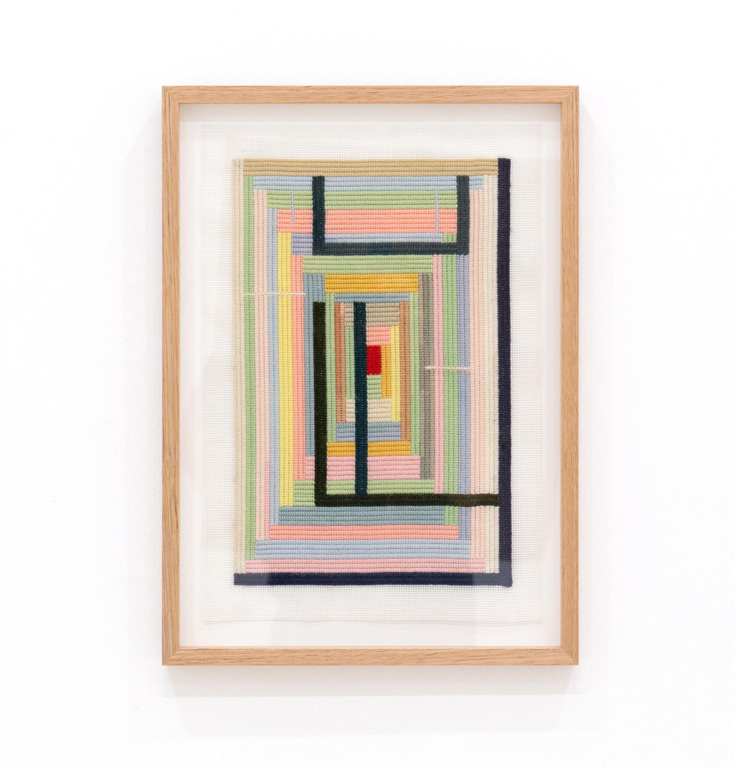 SARAH crowEST  Big Bout Ya  2019 wool on needlepoint canvas 37 × 24 cm Framed 50 × 36 cm