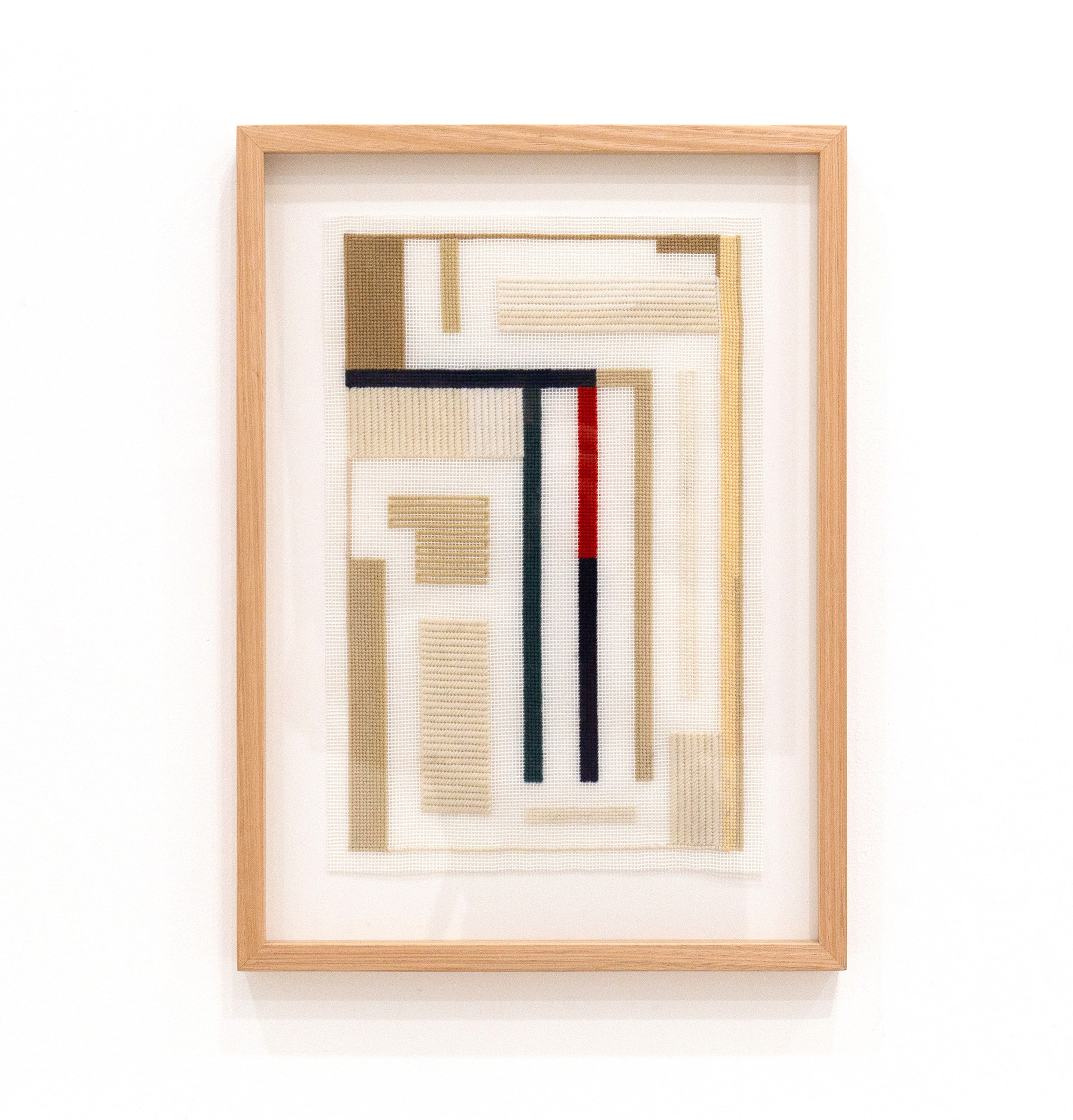 SARAH crowEST  Composition Version Excursion  wool on needlepoint canvas 37 × 24 cm Framed 50 × 36 cm