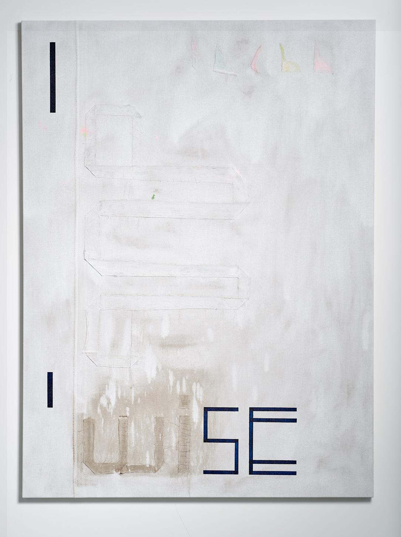 SARAH crowEST  Appliqué #1 (dubwise)  linen, gesso, synthetic polymer paint, linen and cotton thread 137.2 × 101.6 cm