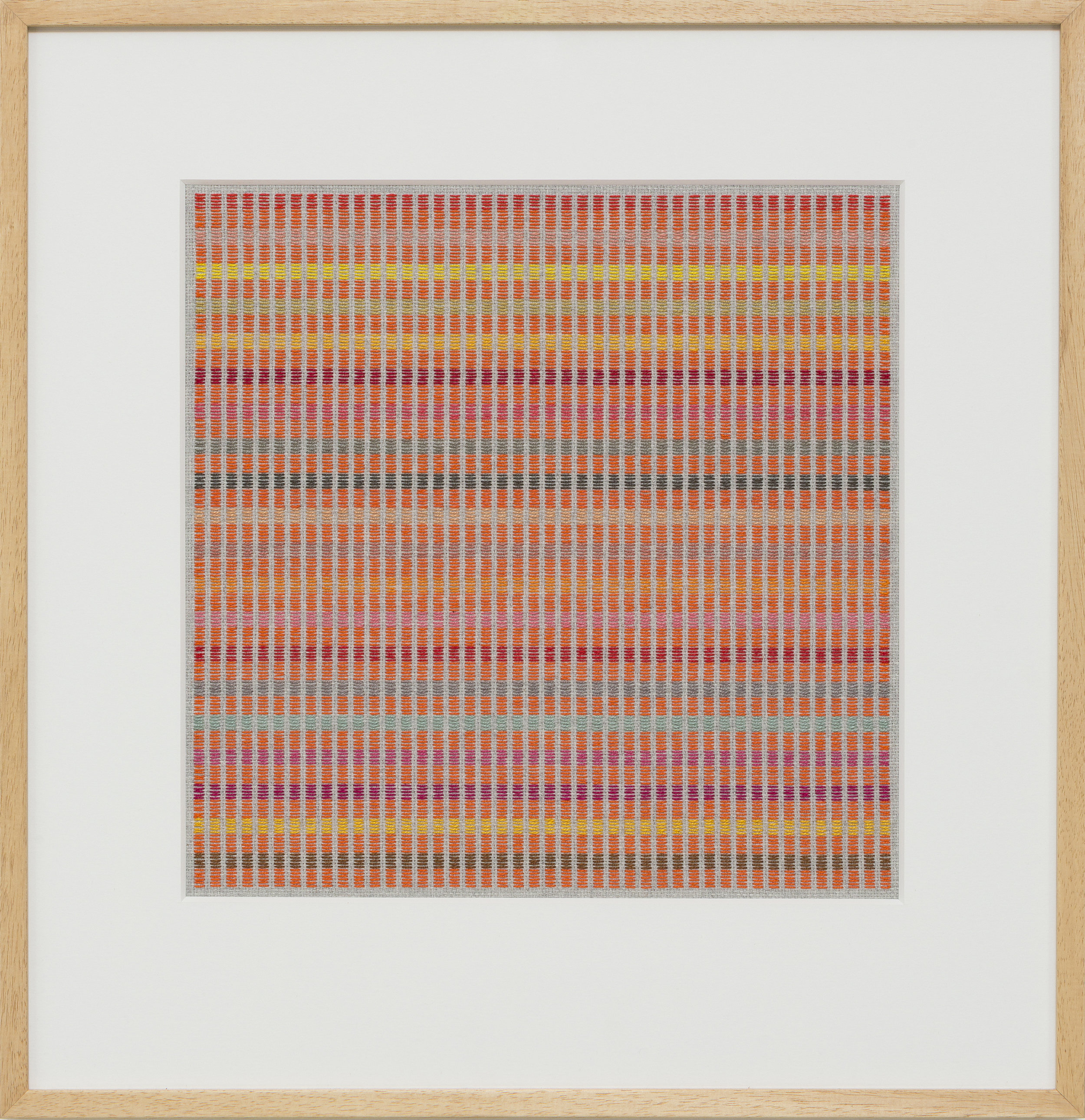 LOUISE TUCKWELL  Comedy of Repitition  2016 cotton on linen 65 × 60 cm (framed)