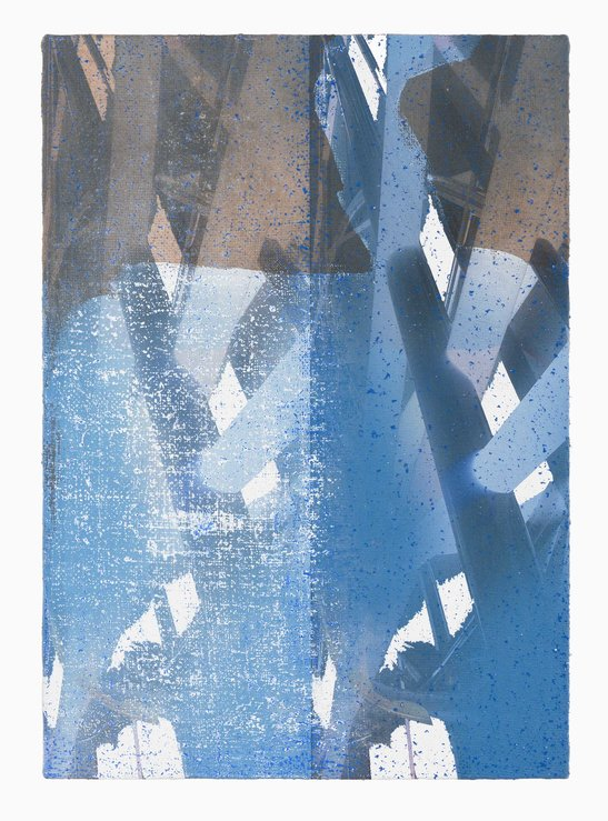 PETER ALWAST  Untitled (Blue)  2018 oil pastel, archival UV cured print on hessian 35.5 × 50.5 cm