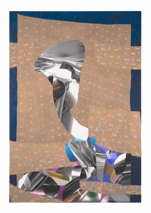 PETER ALWAST  The Count  2018 oil, hessian, rabbit skin glue, collaged archival giclee prints on polycotton 136.5 × 197.5 cm