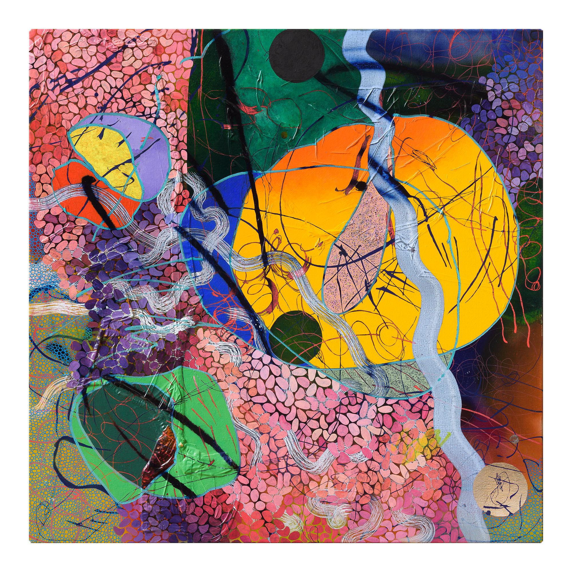 EVAN WOODRUFFE  4th January 2019  acrylic, fabric, goldleaf & mica on linen 100 × 100 cm