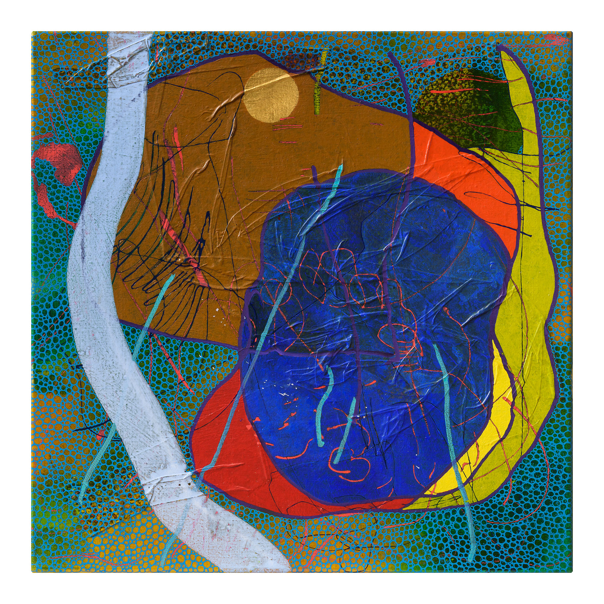 EVAN WOODRUFFE  10th January 2019  acrylic, fabric, gold leaf & mica on linen 50 × 50 cm