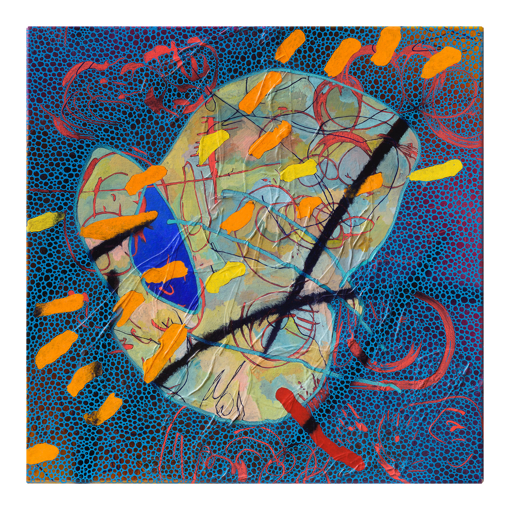 EVAN WOODRUFFE  15th January 2019  acrylic, fabric & mica on linen 50 × 50 cm