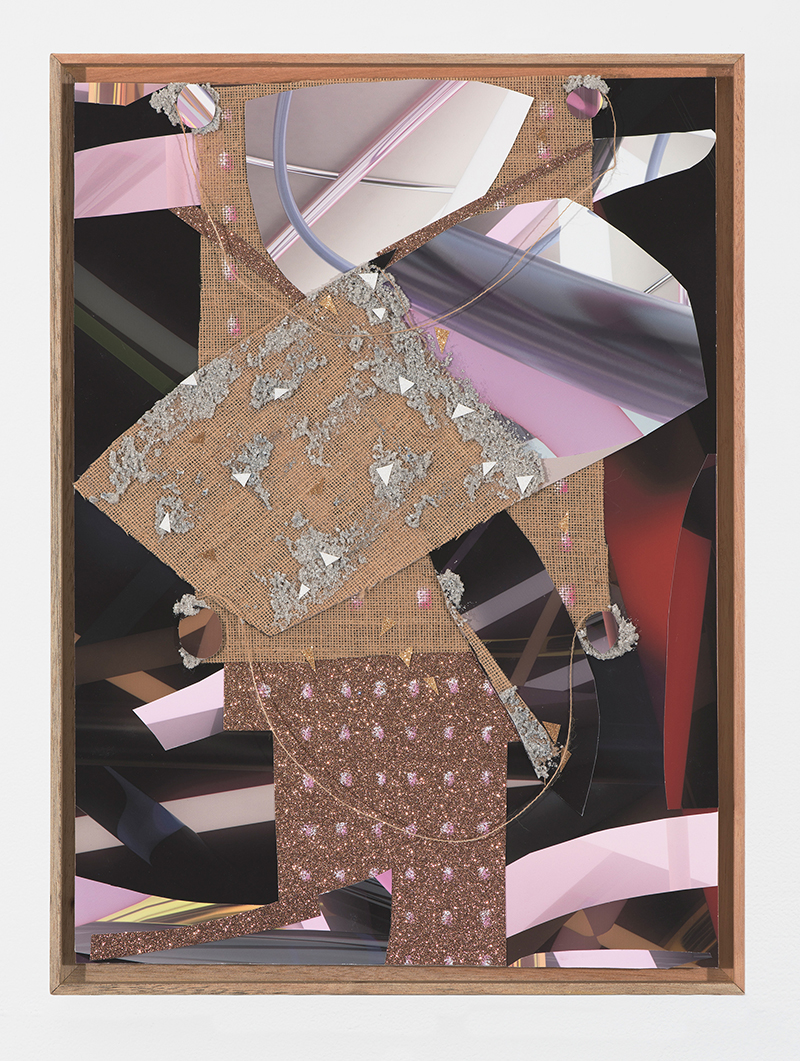 PETER ALWAST  Plumbers who work at night   2018 collaged giclee prints, hessian, glitter paper, oil pastel, pumice gel, string 60 × 40 cm
