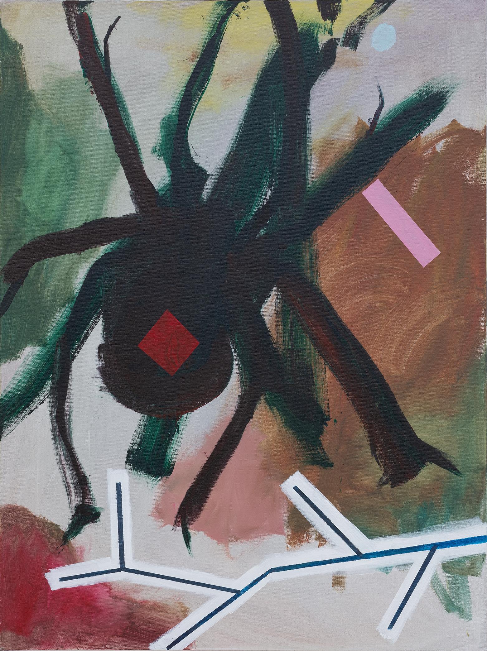 SIMON BLAU  F.Klines'Spider  2018 acrylic on linen 110.5 × 76.5 cm