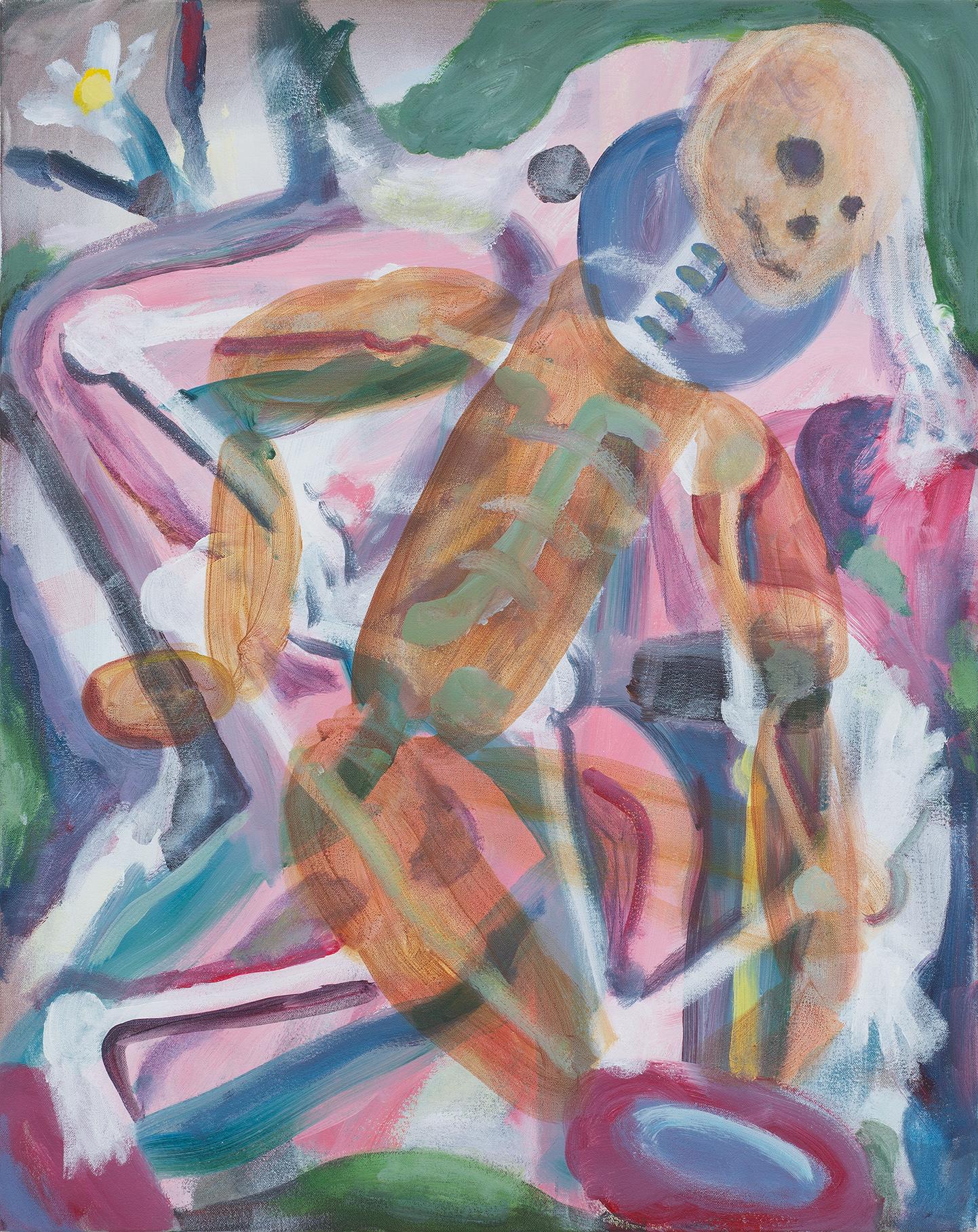 SIMON BLAU  Messanger  2018 acrylic on canvas 76.5 × 61 cm