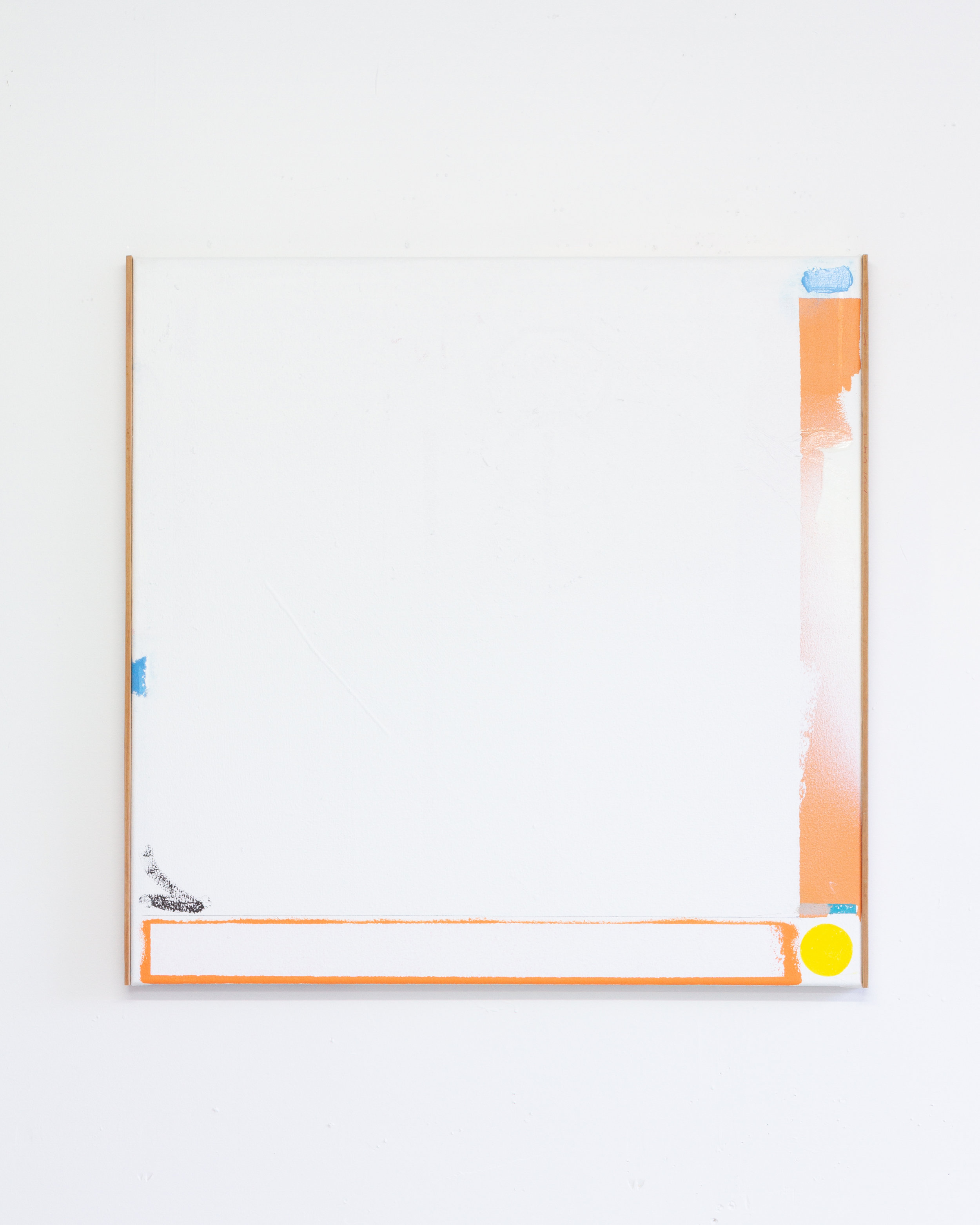 ED BATS   Desperate Youth  2019  oil stick, acrylic, aerosol, gel medium, on canvas, with partial Rimu timber framing  80 × 80 cm