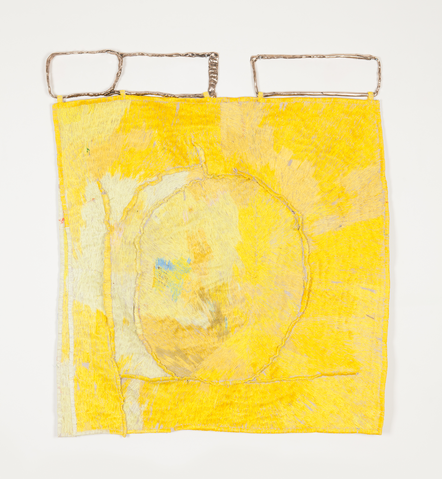 TEELAH GEORGE  Warm sun feeling  2019 thread, linen, bronze 105 × 95 cm