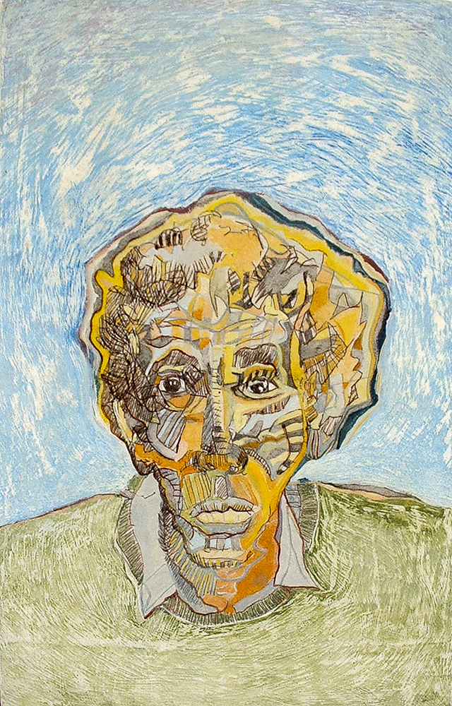 Elder (Portrait of Dennis F)  260mm H x 160mm W -  AVAILABLE   Mixed Media on Mounted Paper