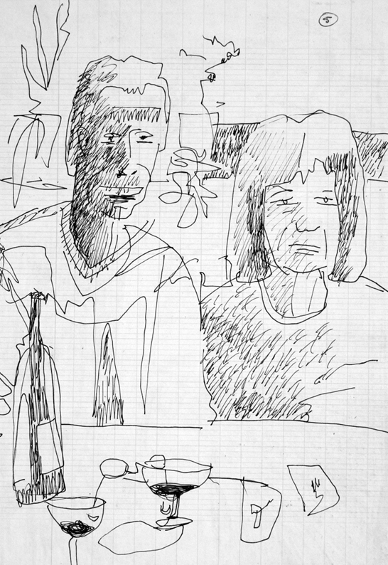 Wolfe and Rowena  250 mm H x 200 mm W  Permanent Felt Tip Marker on Graph Paper