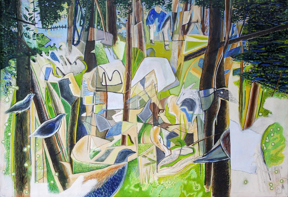 Bois de Bologne (Midsize)  780mm H x 1140mm W 2008  Mixed Media on Canvas