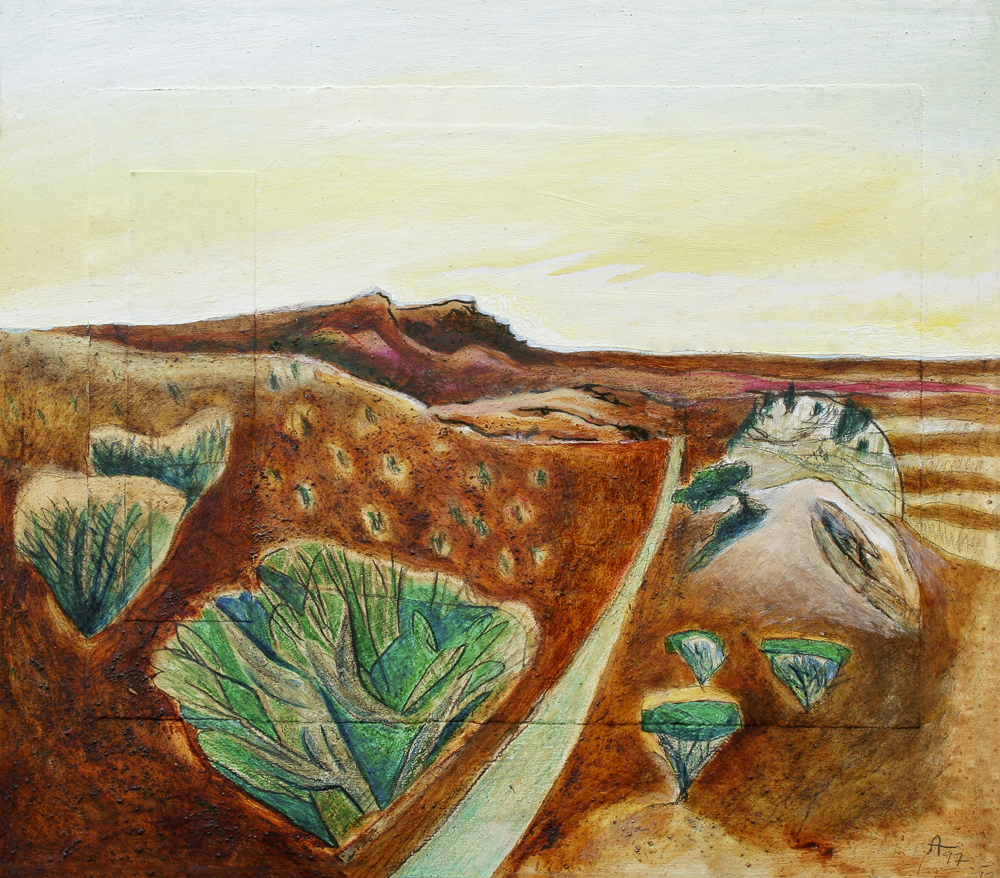 North Towards Canarvon 1997  400mm H x 400mm W  Oil and Mixed Media