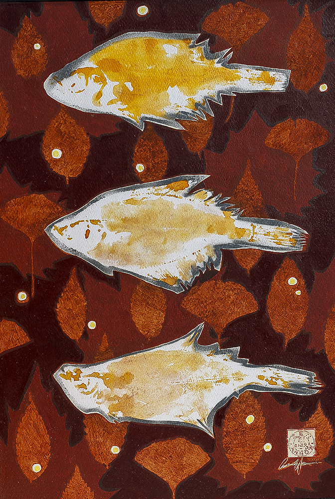 Autumn Leaves 1 (Kajami)  550mm H x 350mm W  Oil and Mixed Media  Collection – Yang Jin Yong [Korea] 2013