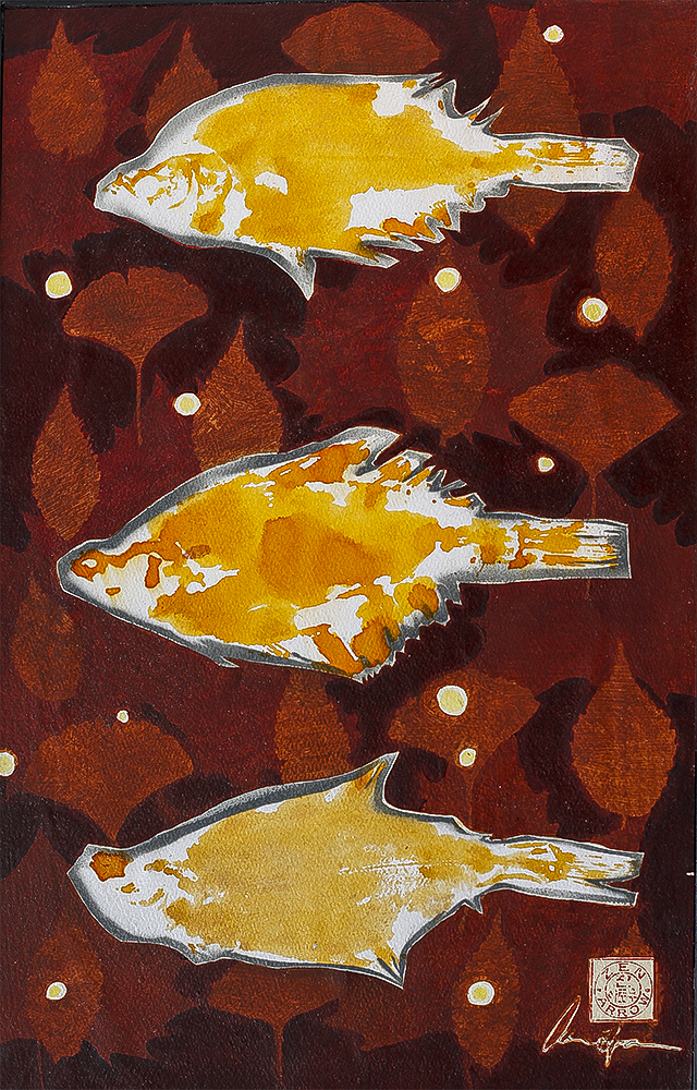 Autumn Leaves 1 (Kajami)  575mm H x 350mm W  Oil and Mixed Media