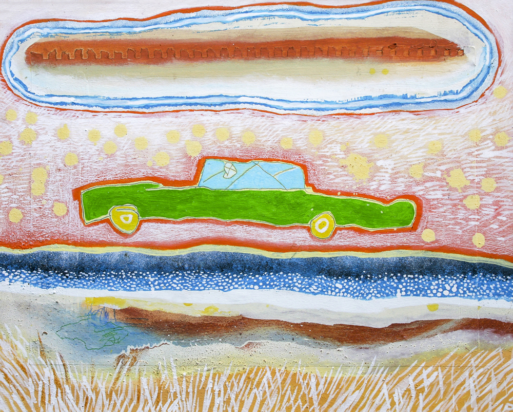 Harry Dean-Stanton's Cadillac  420mm H x 475 mm W  Oil and Mixed Media on Canvas