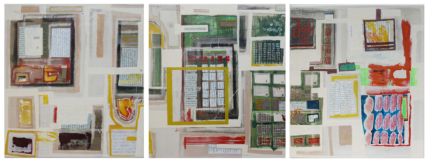 Polaroids (Tryptych)  Each panel 800mm H x 700mm W  Oil, Collage & Mixed Media on Canvas -  AVAILABLE