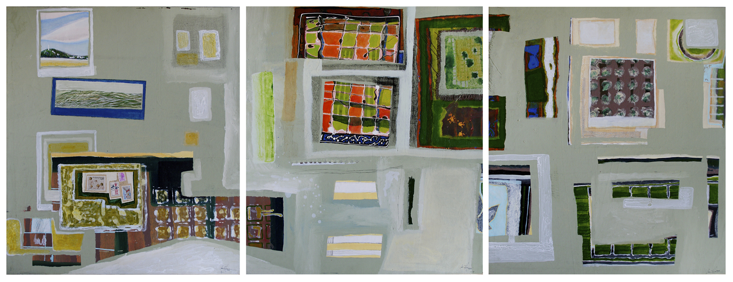 Postcards From Seoul (Tryptych)  Each panel @ 800mm H x 700mm W  Oil, Collage & Mixed Media on Canvas -  AVAILABLE