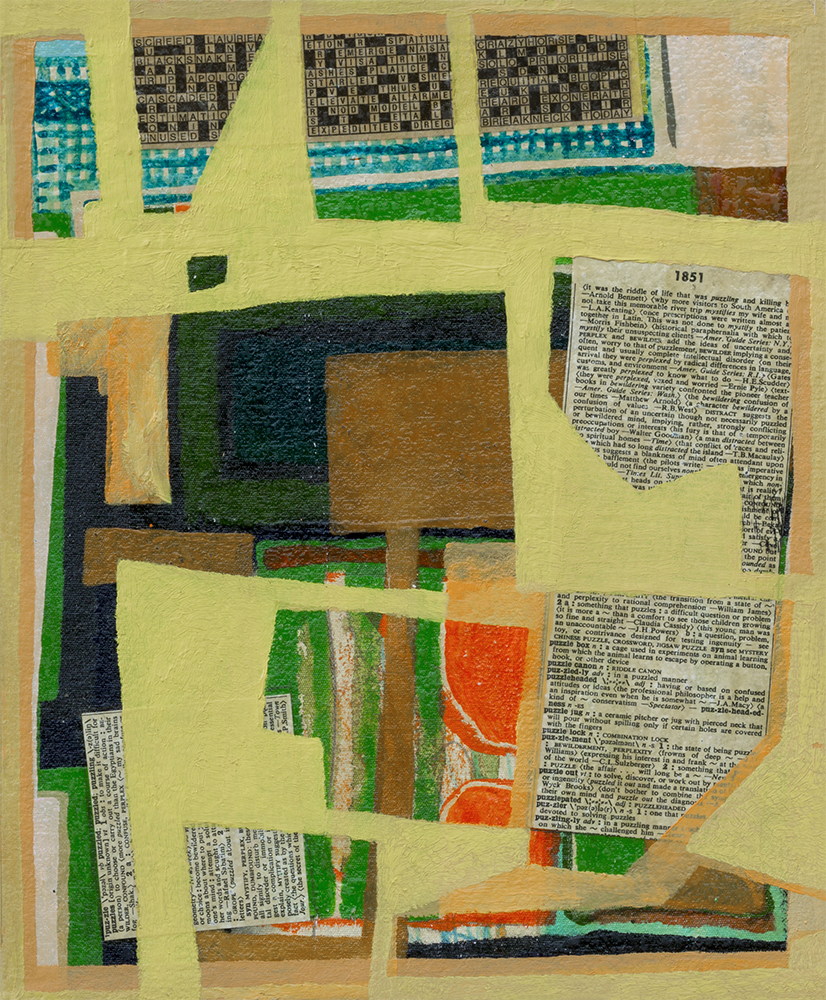 Puzzle  Work in Progress, Begun 2013  290mm H x 240mm W  Oil, Collage, & Mixed Media on Canvas -  AVAILABLE