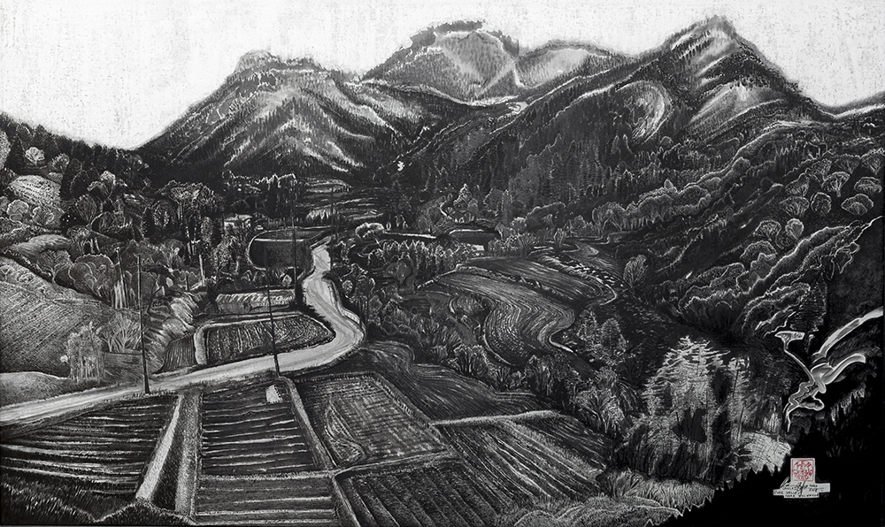 River Valley near Bulguksa 2008-2011  460mm H x 1035mm W  Oil, Ink and Mixed Media on sealed paper -  AVAILABLE