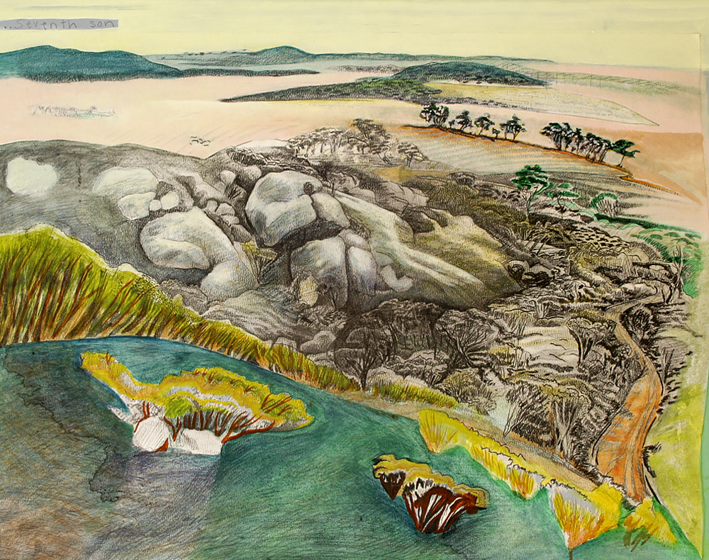Kokebin (My Mother's Country)  550mm H x 750mm W  Work in Progress, begun 2006.  Pencil & Mixed Media on Arches Reeves Paper