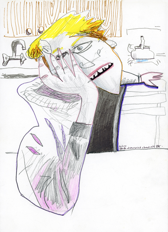 Garth Listening To Techno At Margaret Street, 1993   300 mm x 200 mm W  Graphite and Marker on Paper