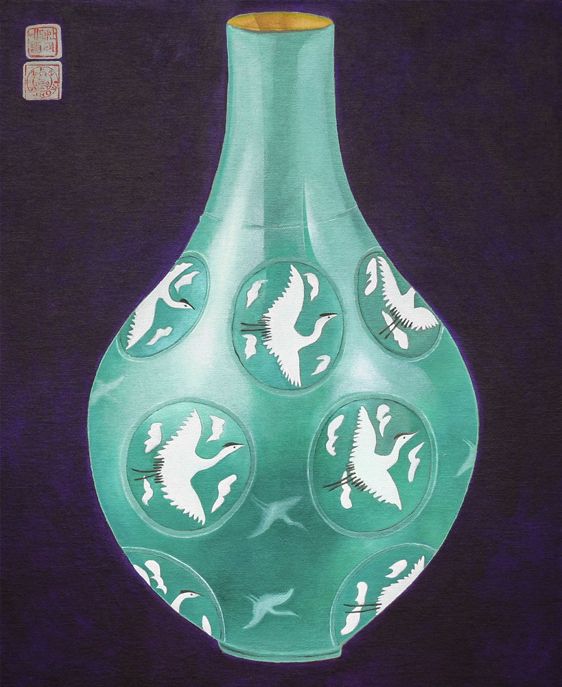 Vessel - Celadon  640mm H x 530mm W  Oil and Mixed Media on Canvas  Collection – Yang Jin Yong [Korea]