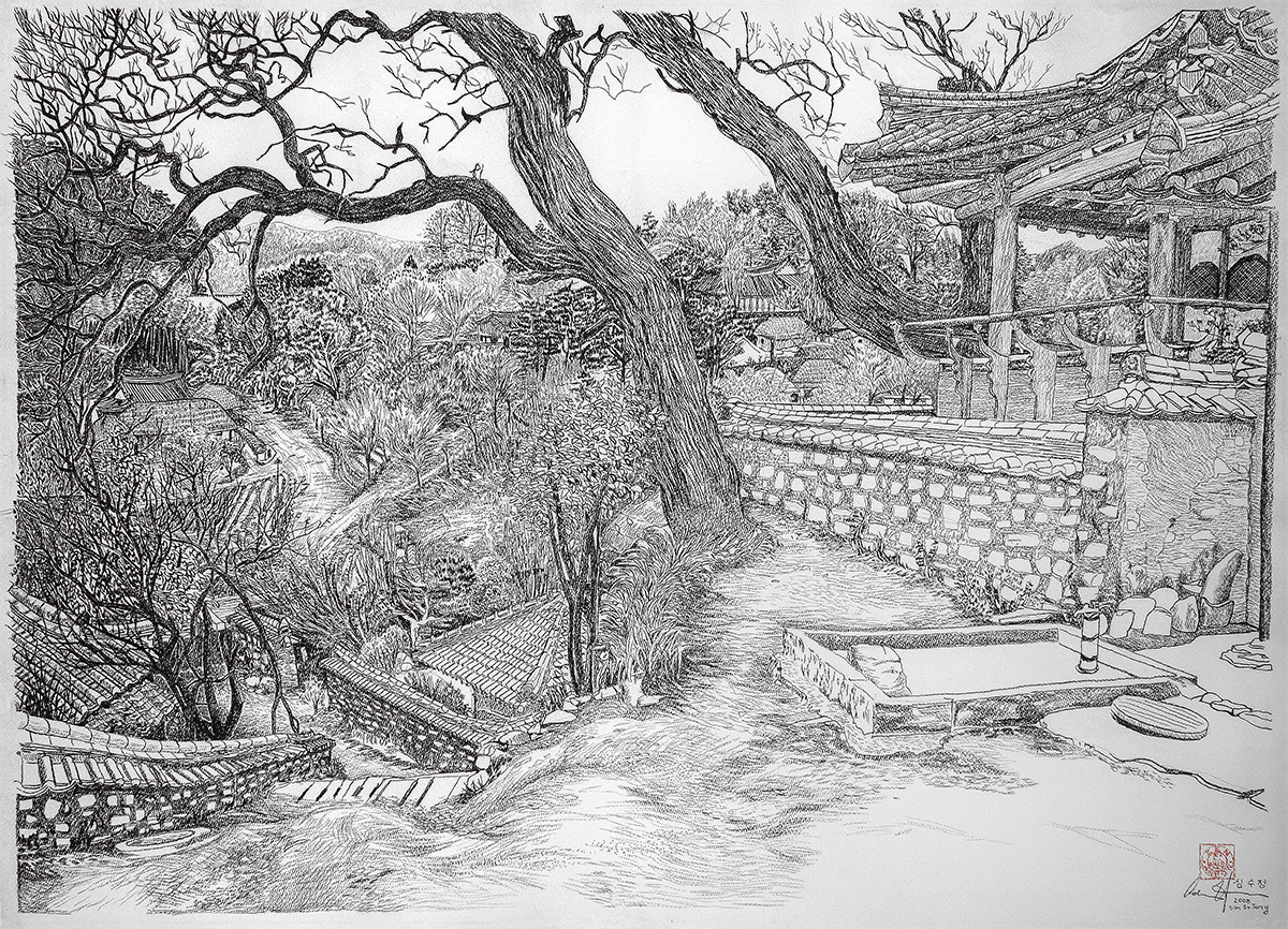 Sim Su Jeong  594mm H x 841mm W  Charcoal on Arches Reeves Paper 2008