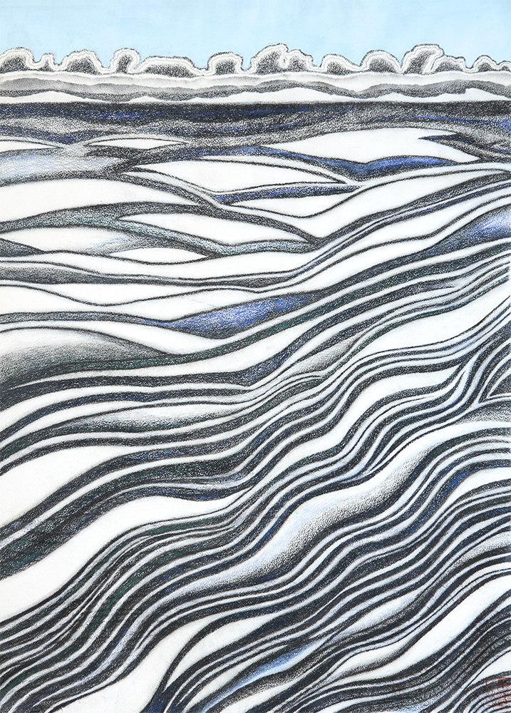 Wave Passage  760 mm H x 560 mm W  Charcoal & Mixed Media on Arches Rives Paper