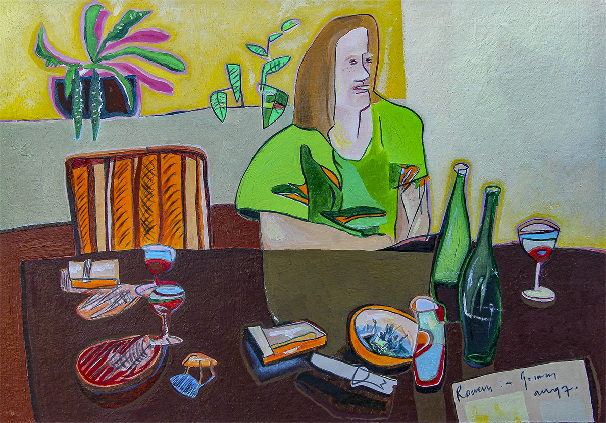 Rowena In Germany  210mm H x 300mm W  Oil and Mixed Media 1997 -  AVAILABLE
