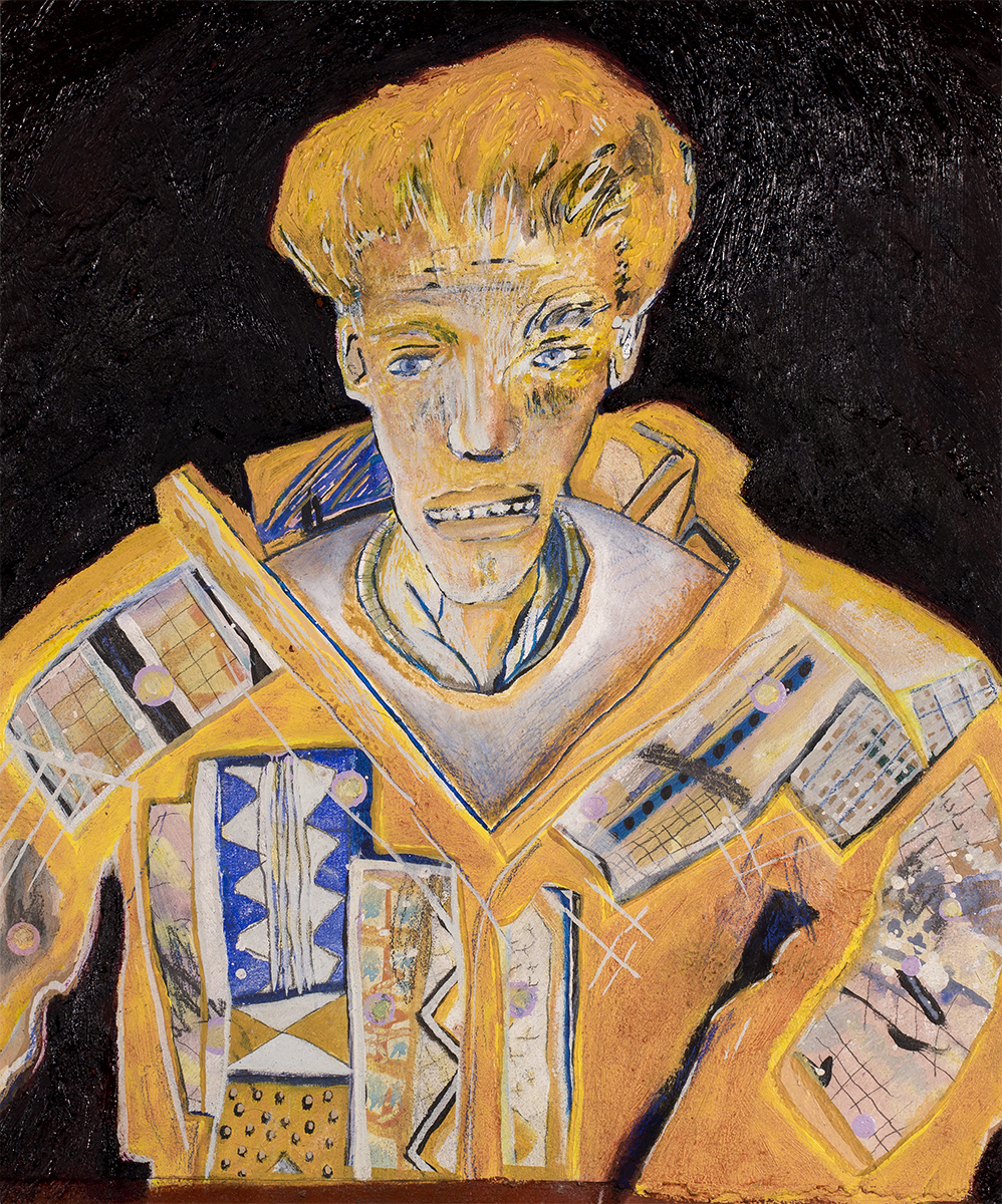 Garth (Yellow Jacket)   620 mm H x 540 mm W~  Oil & Mixed Media on Canvas