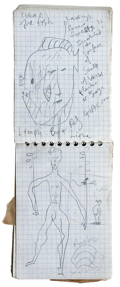 Rainbow Warrior Plan  100mm H x 70mm W  Graphite Pencil on Notepaper