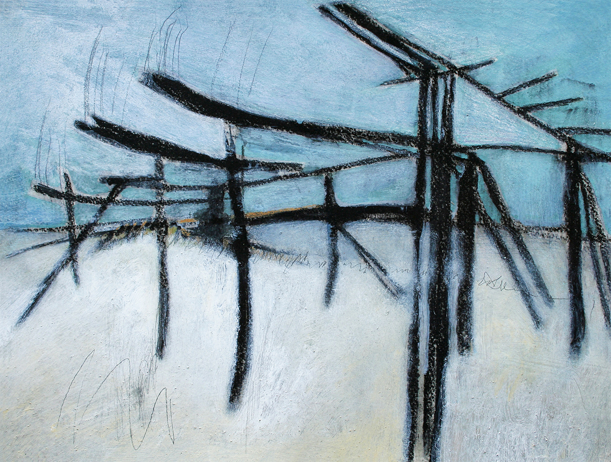 Grey Days  320mm H x 420mm W  Oil and Mixed Media 2004