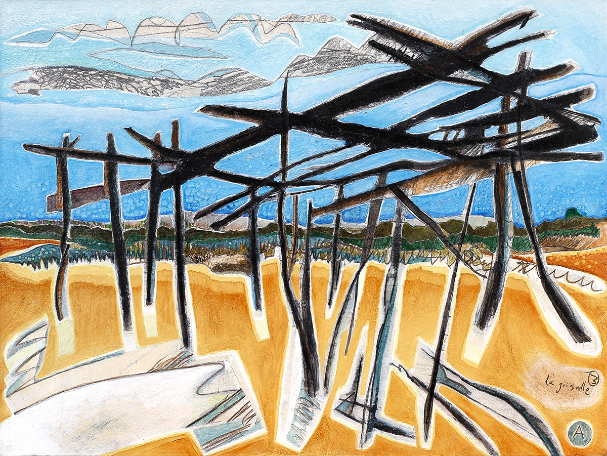Collapsing Structures  320mm H x 420mm W  Oil and mixed media 2004