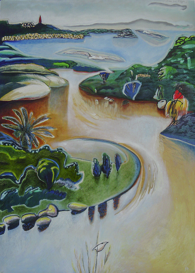 Rivermouth  1000mm H x 673mm W  Acrylic, Oil, and Mixed Media on Canvas  Collection – Wolfgang and Rowena Reusse