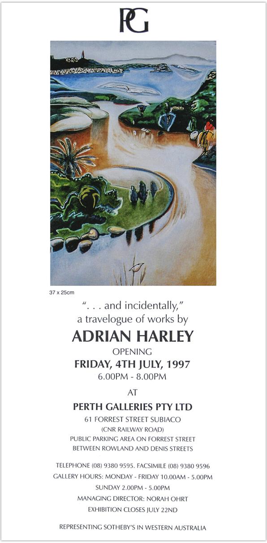 1997 '... and Incidentally,' invite / Perth Galleries / Western Australia
