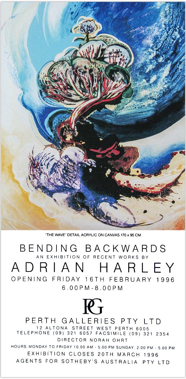 1996 'Bending Backwards'' invite / Perth Galleries / Western Australia