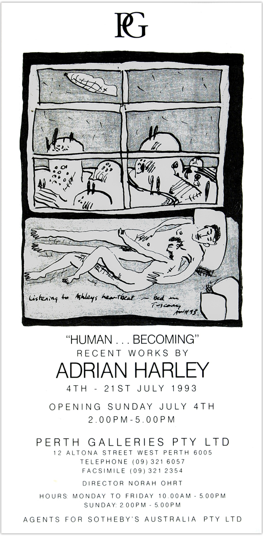 1993 'Human Becoming' invite / Perth Galleries / Western Australia
