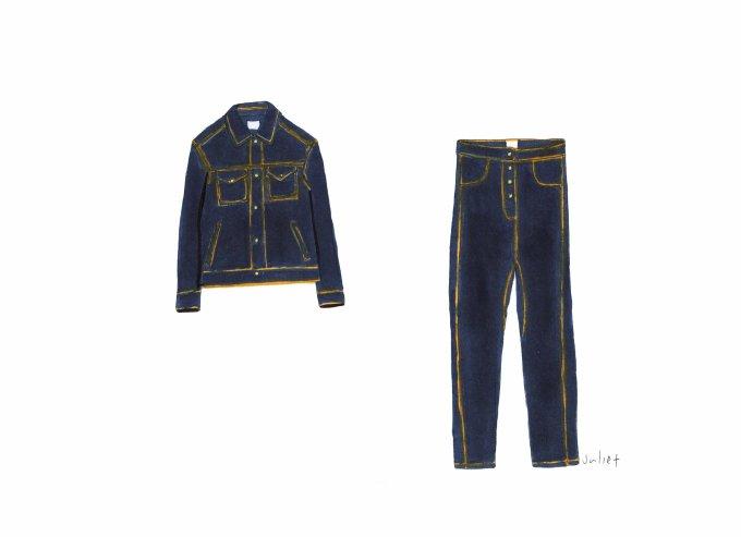 ZARA  - Denim Jacket and High-Waisted Button Jeans