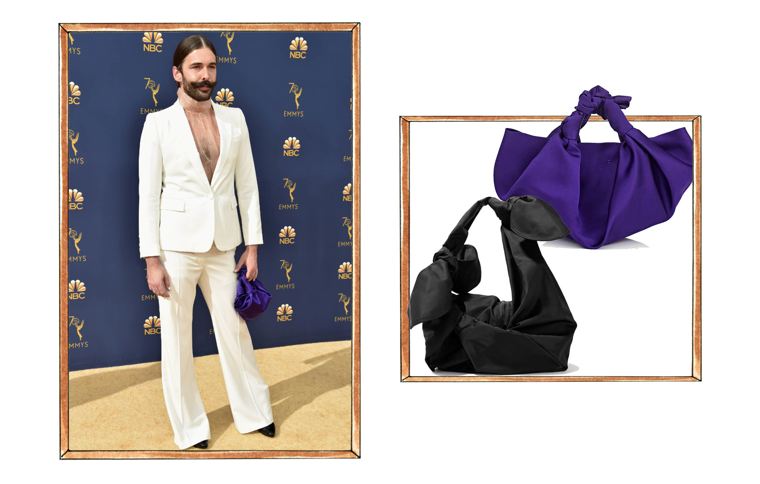 Left: Jonathan Van Ness. Right: top to bottom: The Row Ascot Bag, Simone Rocha Bow Taffeta Bag