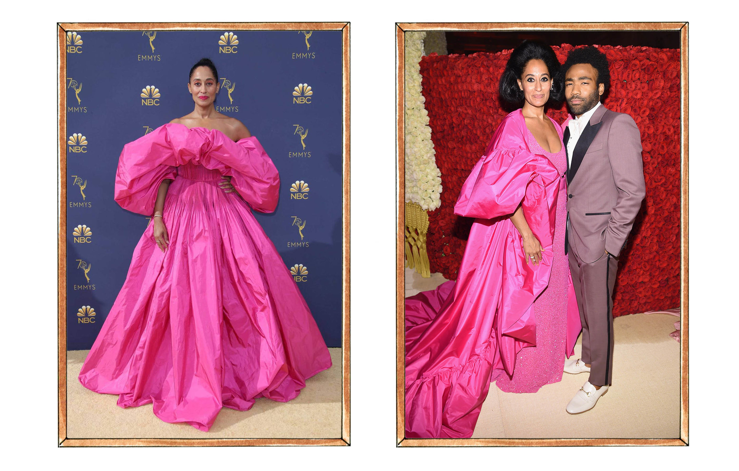 Left: Tracee Ellis Ross in Valentino at the 2018 Emmy's, Right: Tracee Ellis Ross in Michael Kors at the 2018 Met Gala with Donald Glover