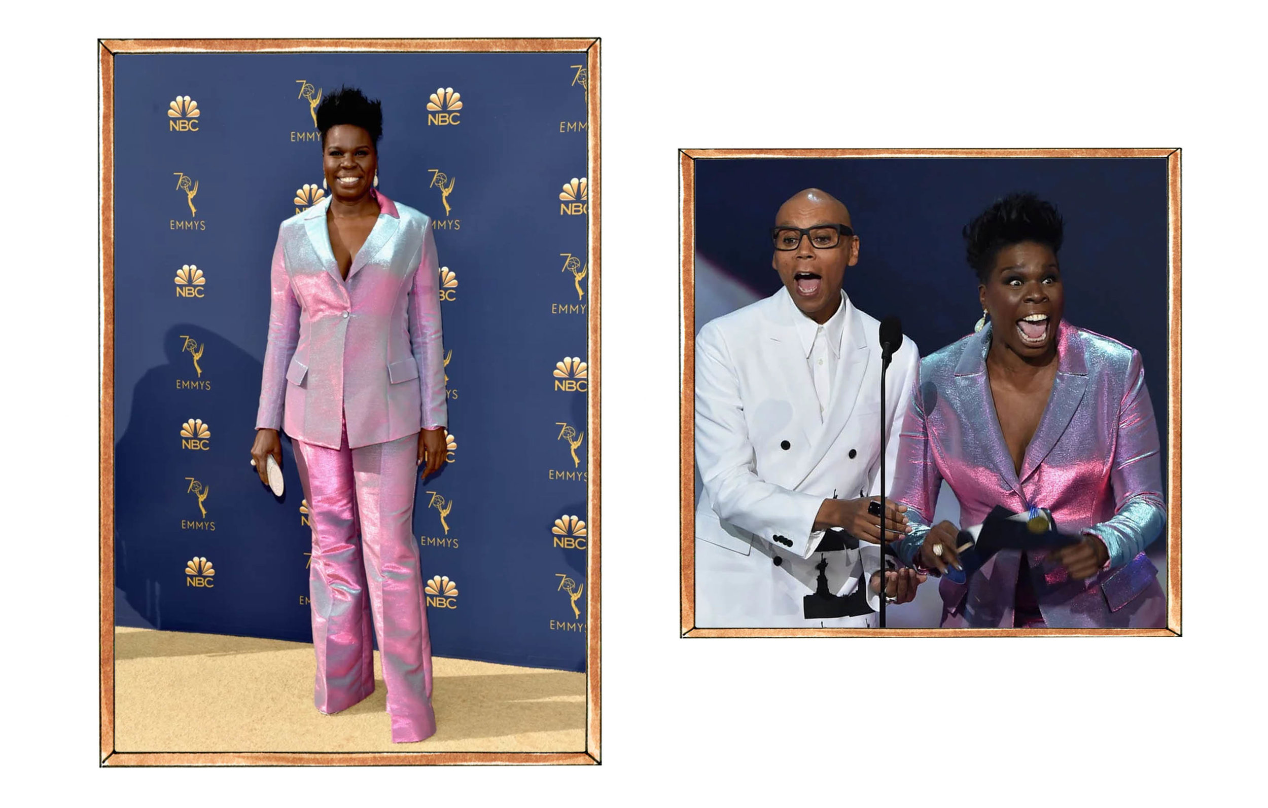 Leslie Jones in Christian Siriano, Ru Paul with Leslie Jones presenting an Emmy