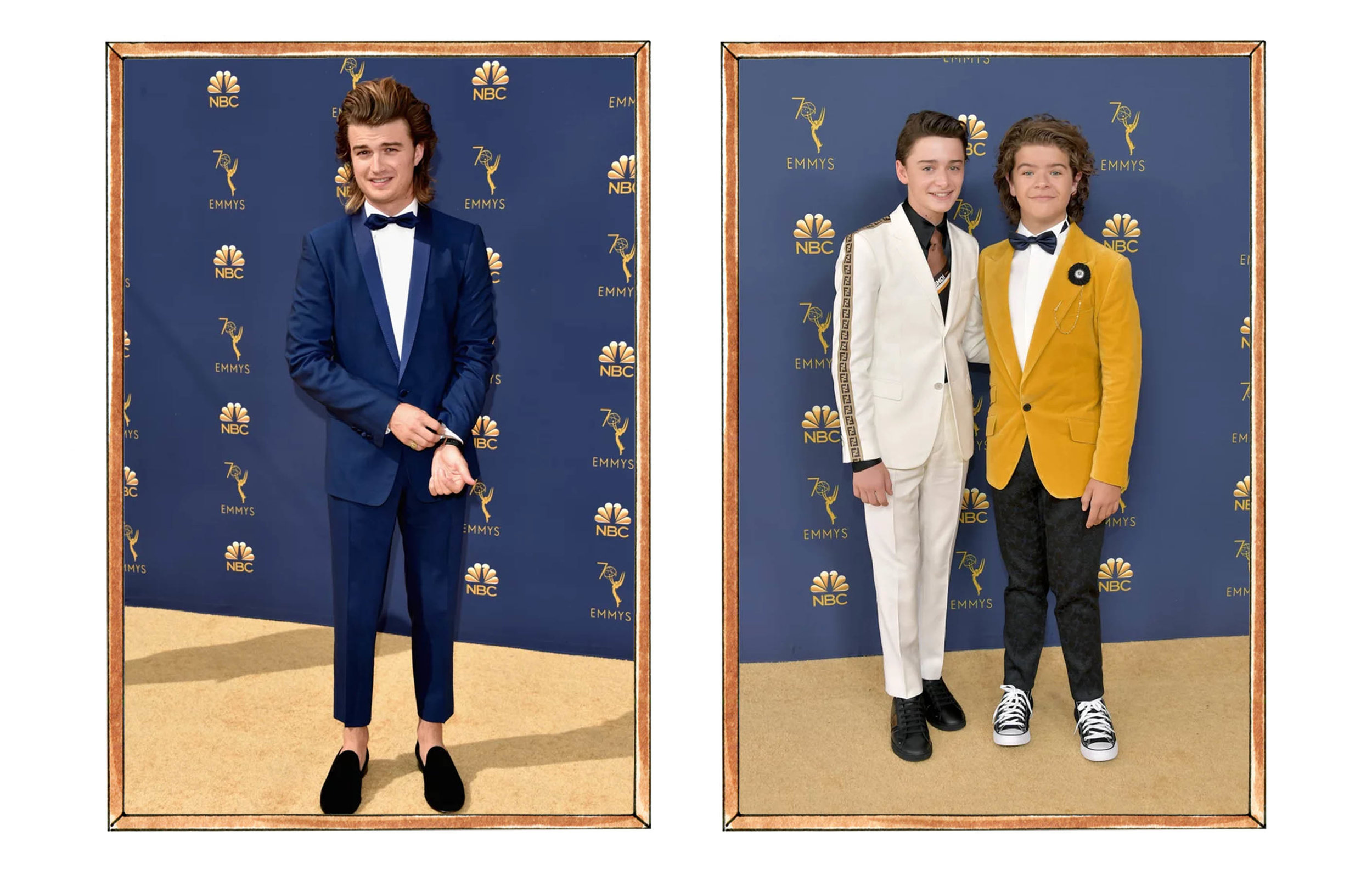Left: Joe Keery, Right: Noah Schnapp and Gaten Matarazzo