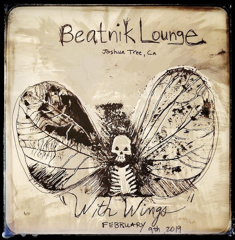 With Wings - February 9 - March 8, 2019 | Reception, February 9, 6:30PMThe Beatnik Lounge61568 Twentynine Palms Highway, Joshua Tree, CA 92252