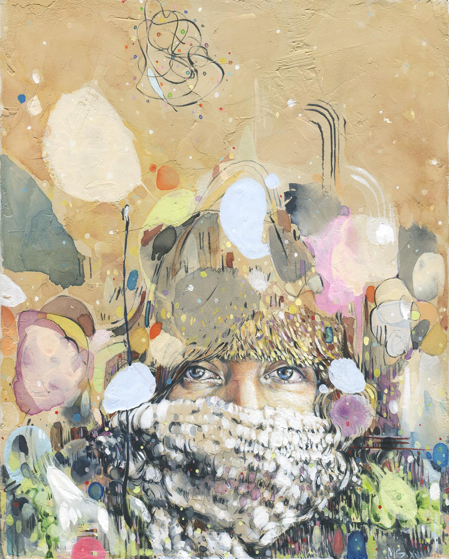 "Sandra - flurries - Watercolor + gouache on panel - 8""x10"""