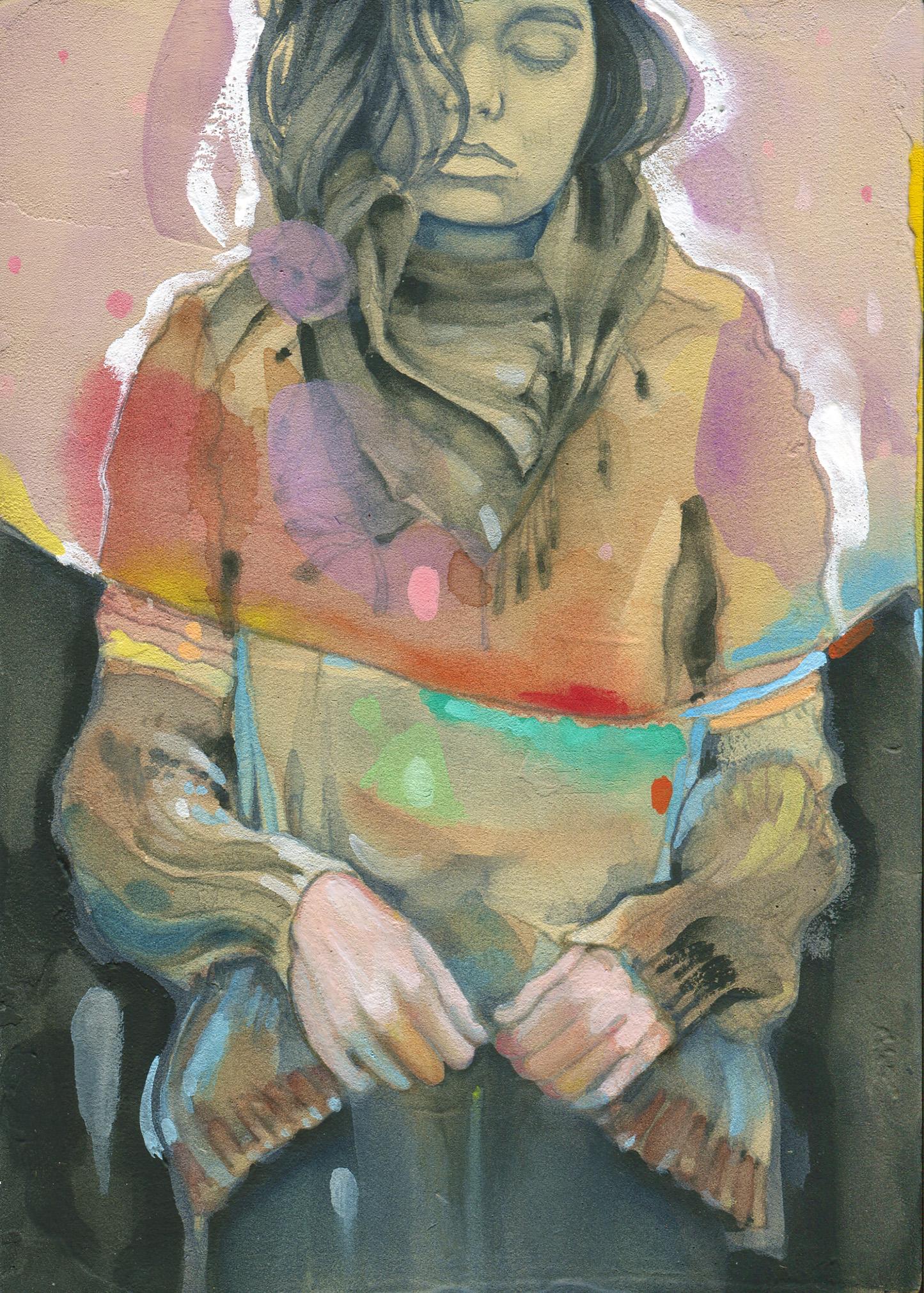 """permanent impermanent - watercolor + gouache on panel - 5""""x7"""""""